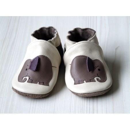 Chaussons en cuir souple - Mes éléphants ivoire