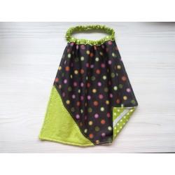 Serviette élastique éponge - Fleurs marron. Imperméable en tissu enduit