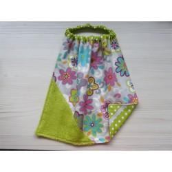 Serviette élastique éponge - Fleurs hippies. Imperméable en tissu enduit