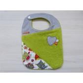 Bavoir éponge bébé : Chouette verte. Serviette pour le repas, toute douce et unique.
