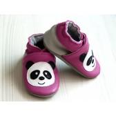 Chaussons en cuir souple - Pandas roses. Antidérapants et résistants