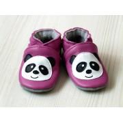 Chaussons en cuir souple - Mes Pandas roses