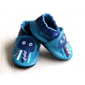 Chaussons en cuir souple - Méduses bleues. Antidérapants et résistants