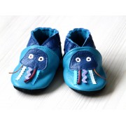 Chaussons en cuir souple - Mes Méduses bleues
