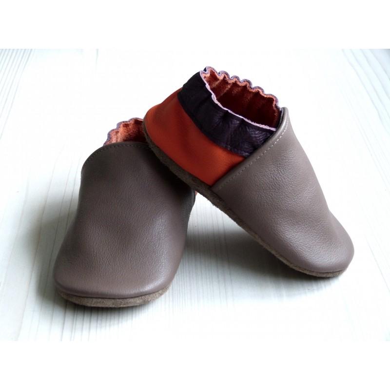Chaussons en cuir souples - Taupe, Prune, Orange. Fait main et unique.