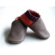Chaussons en cuir souples bébé, enfant et adulte - Taupe, Prune, Orange
