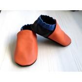 Chaussons en cuir souples - Orange, Bleu électrique, Noir. Fait main et unique.