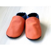 Chaussons en cuir souples - Orange, Bleu électrique, Noir. Antidérapants et résistants