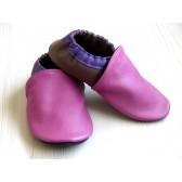 Chaussons en cuir souples - Rose, Violet, Taupe. Fait main et unique.