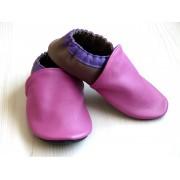 Chaussons en cuir souples bébé, enfant et adulte - Rose, Violet, Taupe