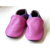Chaussons en cuir souples - Rose, Violet, Taupe. Antidérapants et résistants