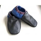 Chaussons en cuir souples - Noir, Prune, Bleu électrique. Fait main et unique.
