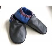 Chaussons en cuir souples bébé, enfant et adulte - Noir, Prune, Bleu électrique