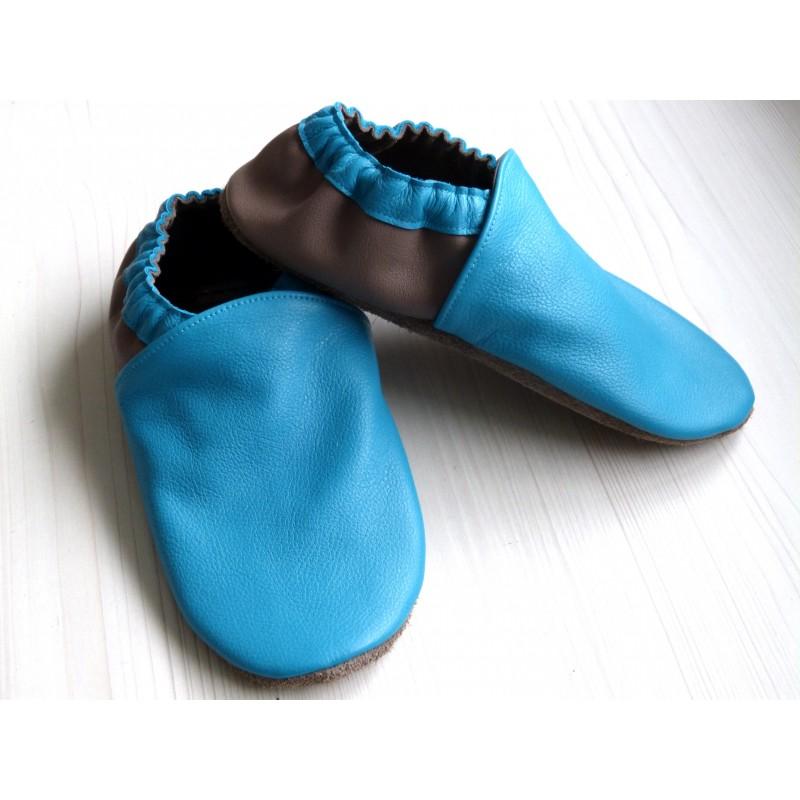 Chaussons en cuir souples - Bleu Turquoise, Taupe. Fait main et unique.