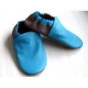 Chaussons en cuir souples bébé, enfant et adulte - Bleu Turquoise, Taupe