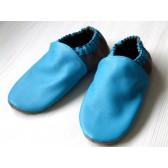 Chaussons en cuir souples - Bleu Turquoise, Taupe. Antidérapants et résistants