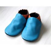 Chaussons en cuir souples - Bleu Turquoise, Orange, Noir. Antidérapants et résistants