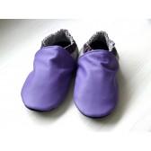 Chaussons en cuir souples - Violet, Prune, Gris perle. Antidérapants et résistants