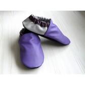 Chaussons en cuir souples - Violet, Prune, Gris perle. Fait main et unique.