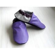 Chaussons en cuir souples bébé, enfant et adulte - Violet, Prune, Gris perle