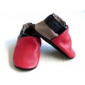 Chaussons en cuir souples - Rouge, Noir, Taupe. Fait main et unique.
