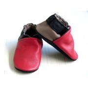Chaussons en cuir souples bébé, enfant et adulte - Rouge, Noir, Taupe