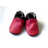 Chaussons en cuir souples - Rouge, Noir, Taupe. Antidérapants et résistants